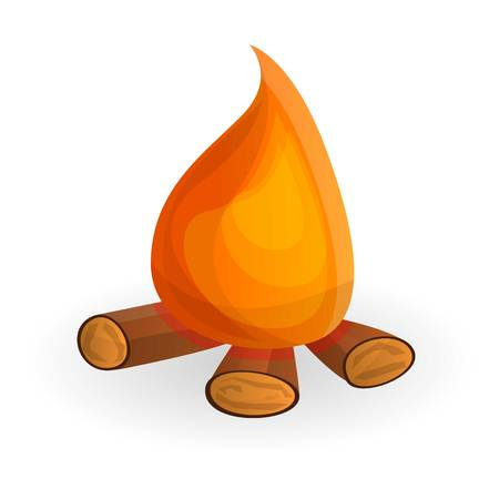Camp fire icon. Cartoon of camp fire icon for web design isolated on white background Banco de Imagens