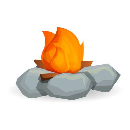 Flame campfire icon. Cartoon of flame campfire icon for web design isolated on white background
