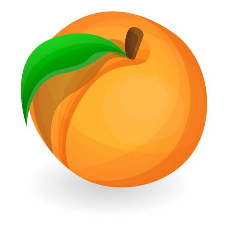 Eco peach icon. Cartoon of eco peach icon for web design isolated on white background Zdjęcie Seryjne