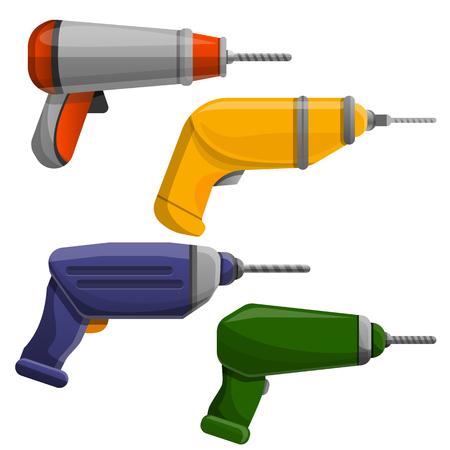 Drilling machine icon set. Cartoon set of drilling machine icons for web design