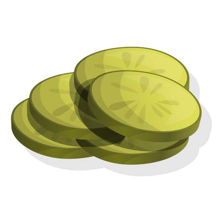 Sliced cucumber icon. Cartoon of sliced cucumber icon for web design isolated on white background