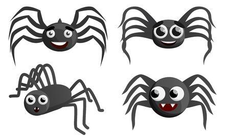 Spider icon set. Cartoon set of spider icons for web design Banco de Imagens
