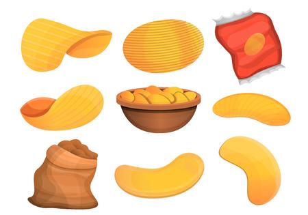 Chips potato icon set. Cartoon set of chips potato icons for web design