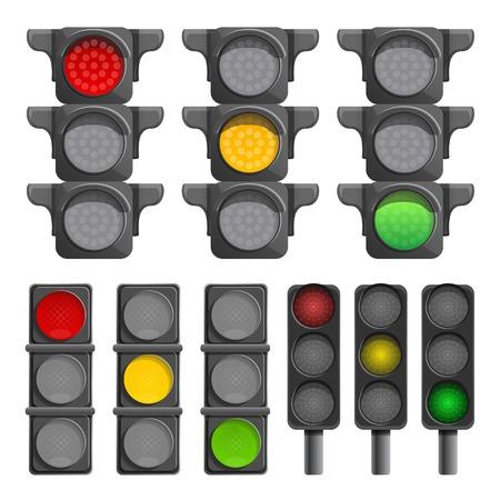 Traffic lights icon set. Cartoon set of traffic lights icons for web design Reklamní fotografie