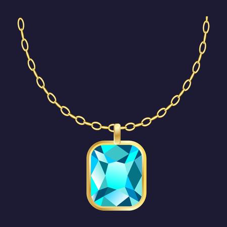 Gold gemstone necklace icon. Realistic illustration of gold gemstone necklace icon for web design Reklamní fotografie
