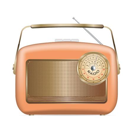 Ancienne icône de la radio. Illustration réaliste de l'ancienne icône radio pour la conception web isolé sur fond blanc