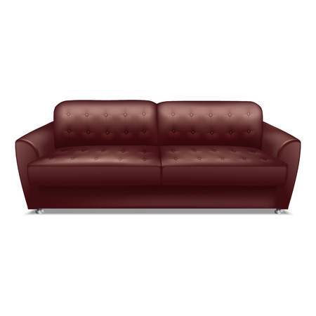 Leather brown sofa icon. Realistic illustration of leather brown sofa icon for web design isolated on white background