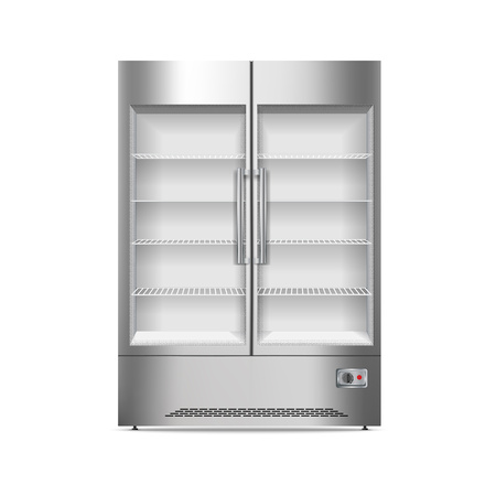 Commercial fridge icon. Realistic illustration of commercial fridge icon for web design isolated on white background Banque d'images - 122465830