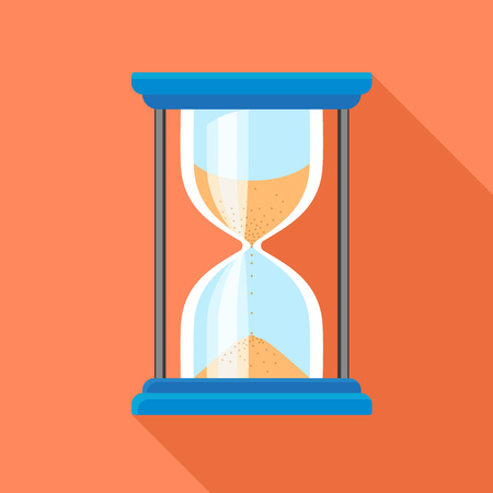 Hour glass timer icon. Flat illustration of hour glass timer icon for web design