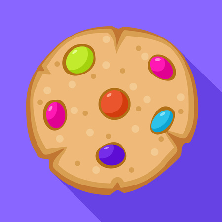Candy bean on biscuit icon. Flat illustration of candy bean on biscuit icon for web design Standard-Bild