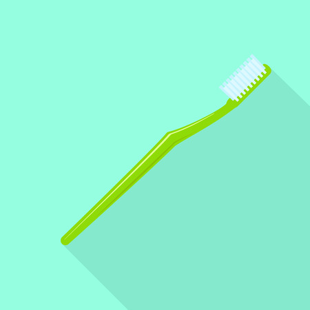 Green toothbrush icon. Flat illustration of green toothbrush icon for web design