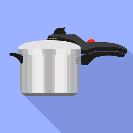 Hand pressure cooker icon. Flat illustration of hand pressure cooker icon for web design