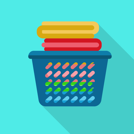 Clean clothes basket icon. Flat illustration of clean clothes basket icon for web design Standard-Bild - 122465382