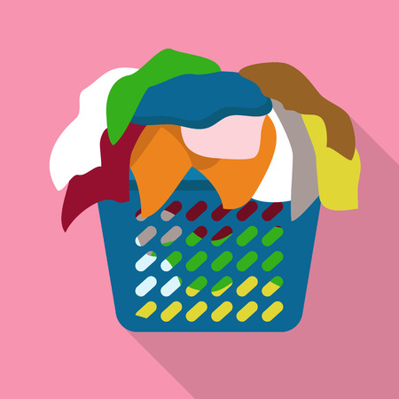 Basket of dirty clothes icon. Flat illustration of basket of dirty clothes icon for web design Stock Photo