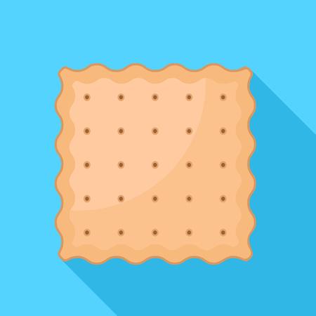 Square cracker biscuit icon. Flat illustration of square cracker biscuit icon for web design Stok Fotoğraf