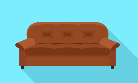 Brown sofa icon. Flat illustration of brown sofa icon for web design