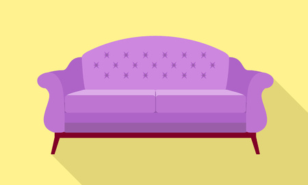 Violet sofa icon. Flat illustration of violet sofa icon for web design