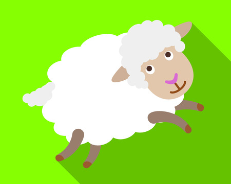Playful sheep icon. Flat illustration of playful sheep icon for web design Фото со стока