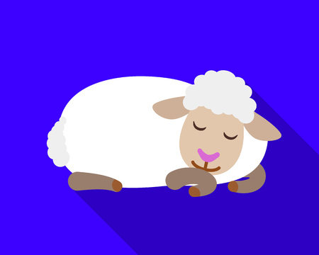 Sleeping sheep icon. Flat illustration of sleeping sheep icon for web design 写真素材
