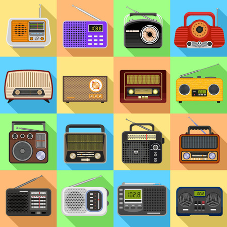Radio icons set. Flat set of radio icons for web design
