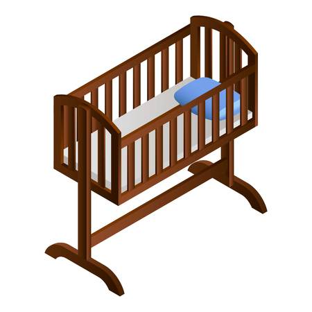 Baby cradle icon. Isometric of baby cradle icon for web design isolated on white background