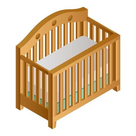 Wood baby crib icon. Isometric of wood baby crib icon for web design isolated on white background