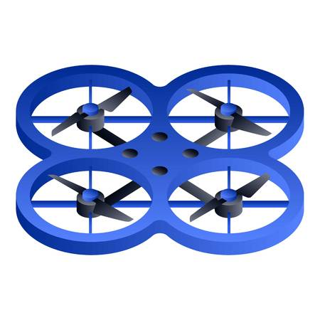 Blue drone icon. Isometric of blue drone icon for web design isolated on white background