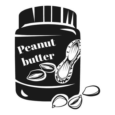 Peanut butter jar icon. Simple illustration of peanut butter jar icon for web design isolated on white background Banco de Imagens