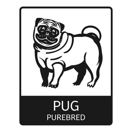 Pug purebred icon. Simple illustration of pug purebred icon for web design isolated on white background