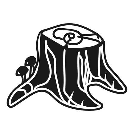 Stump with honey agarics icon. Simple illustration of stump with honey agarics icon for web design isolated on white background
