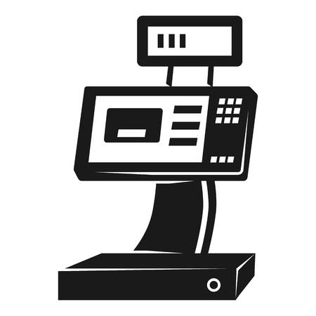 Cash register icon. Simple illustration of cash register icon for web design isolated on white background 스톡 콘텐츠