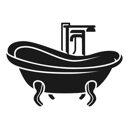 Vintage bath icon. Simple illustration of vintage bath icon for web design isolated on white background Banco de Imagens