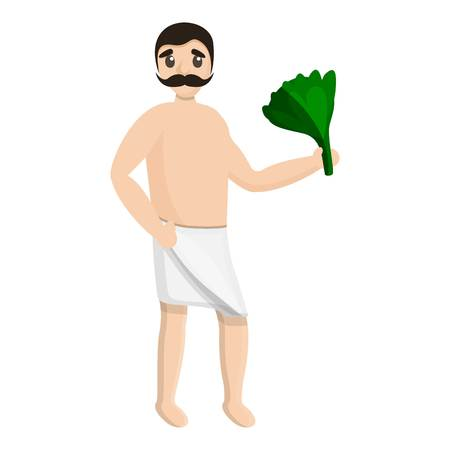 Man spa towel green branch icon. Cartoon of man spa towel green branch icon for web design isolated on white background