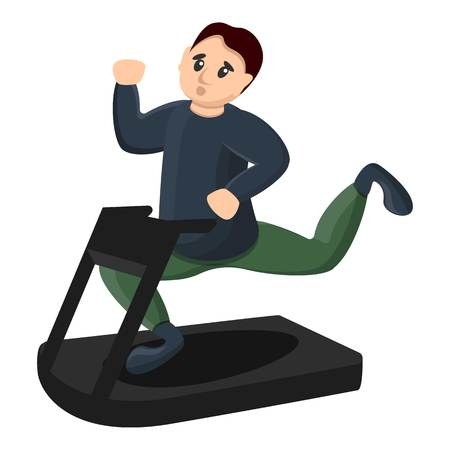 Man at treadmill icon. Cartoon of man at treadmill icon for web design isolated on white background