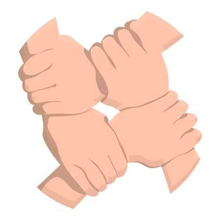 Ikona uścisk dłoni Quadro. Kreskówka ikona uścisk dłoni quadro do projektowania stron internetowych na białym tle