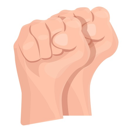 Two fist up icon. Cartoon of two fist up icon for web design isolated on white background