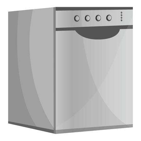 Metal dishwasher icon. Cartoon of metal dishwasher icon for web design isolated on white background 写真素材