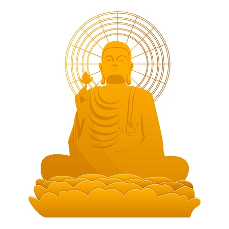 Buddha gold statue icon. Cartoon of Buddha gold statue icon for web design isolated on white background