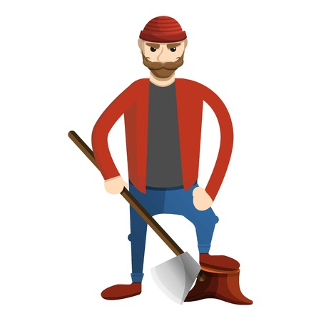 Concentrated lumberjack icon. Cartoon of concentrated lumberjack icon for web design isolated on white background Stock Photo