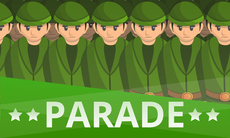 Military soldier parade concept banner. Cartoon illustration of military soldier parade concept banner for web design