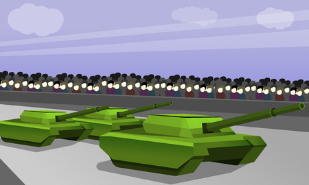 Parade of military tank concept banner. Cartoon illustration of parade of military tank concept banner for web design 스톡 콘텐츠