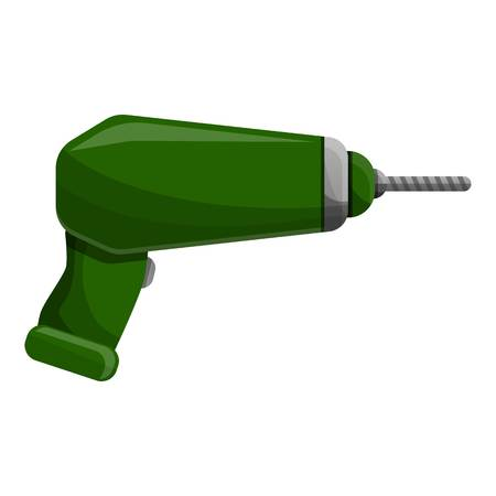 Green drill icon. Cartoon of green drill icon for web design isolated on white background Фото со стока