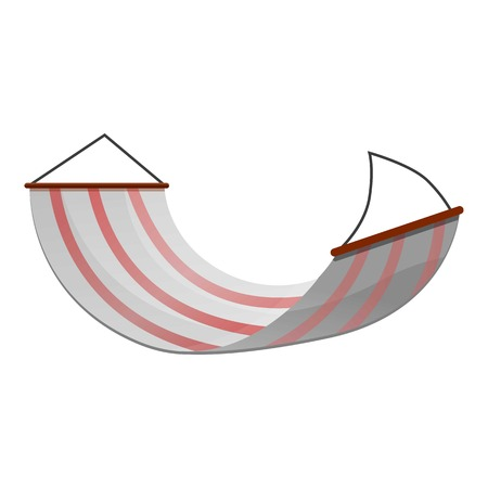 Striped hammock icon. Cartoon of striped hammock icon for web design isolated on white background Stock Photo