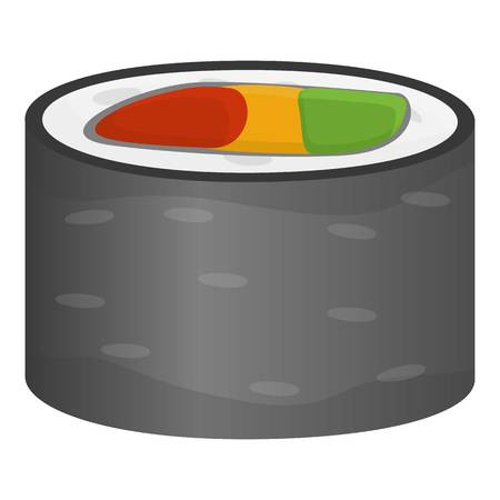 Restaurant sushi roll icon. Cartoon of restaurant sushi roll icon for web design isolated on white background