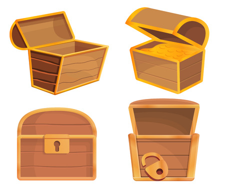 Dower chest icons set. Cartoon set of dower chest icons for web design