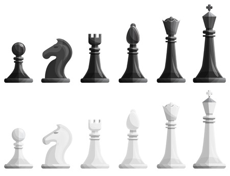 Chess icons set. Cartoon set of chess icons for web design