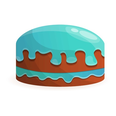 Cream birthday cake icon. Cartoon of cream birthday cake icon for web design isolated on white background Stock Photo