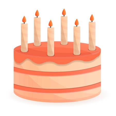 Candle birthday cake icon. Cartoon of candle birthday cake icon for web design isolated on white background