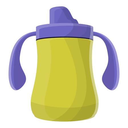 Yellow sippy cup icon. Cartoon of yellow sippy cup icon for web design isolated on white background