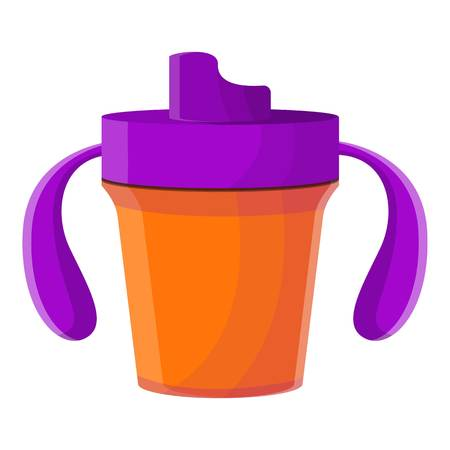 Plastic sippy cup icon. Cartoon of plastic sippy cup icon for web design isolated on white background Banco de Imagens